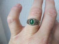 Schöner , alter Ring  , 925 Silber mit Jade  , Gr. 67