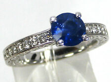 Sapphire Ring Antique Filigree 14K White Gold Blue GIA Certified Heirloom $4,943