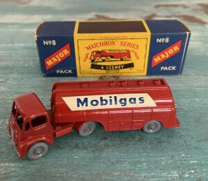 Vintage Matchbox Major Pack No. 8 Mobil Gas Petrol Tanker - Mint