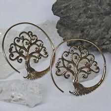 sehr edel Creolen Baum des Lebens Yggdrasil Bronze Ohrhänger 4,5 cm HANDMADE
