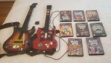 PS2 Guitar Hero Lot - 2 Guitars & 8 Games