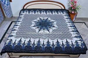Indian Cotton Bedcover Star Mandala Decorative Blue Tapestry Queen Wall Hanging