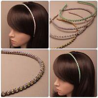 NARROW GLITTER CORDED ALICE BAND HAIR HEAD HEADBAND WITH DIAMANTE CRYSTAL