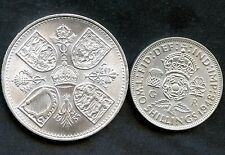 Great Britain 1953 5 Shilling & 1948 2 Shilling Coins