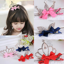 Crystal Crown Baby Kids Girls Children Shiny Princess Rabbit Ears Hair Clip Top