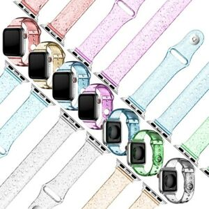 Glitter Powder Clear TPU Band Strap For iWatch Series 6/5/4/3/2/1 For Apple Watc