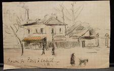 Peinture Original Aquarelle PAUL COUVREUR  - Route de Paris - Vers 1930 - PC170