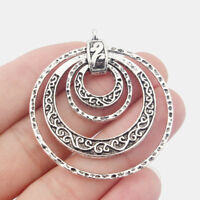 2x Tibetan Silver Change Bead 4 Carved Circle Rings Charm Pendant Jewelry Making
