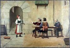 José Alsina (Espagnol, 1850-?) Ancien Tableau Peinture Huile Original Painting