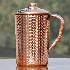 Hammered Pure Copper Jug for Water, for Drinking Water, Health Benefits, 1.50 Li