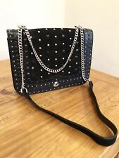 Zara Black Leather Quilted Cross Body Bag With Studs Abd Chain Strap Bnwt