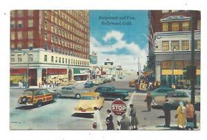 Vintage postcard Hollywood and Vine, Hollywood California, USA. Unposted