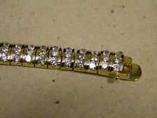 Lady's Women's Yellow Gold Plated 8mm Wide Tennis Bracelet 3 Rows 141 Cz's