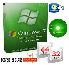 Windows 7 Home Premium 64 & 32 Bit Bootable DVDs SP1 FULL VERSION & CODE UK
