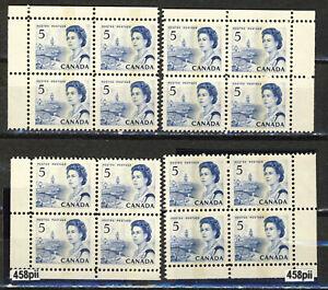 1967 #458pii 5¢ CENTENNIAL ISSUE HB(HIBRITE PAPER) DEX TAGGED WCB MS CORNER BLKs