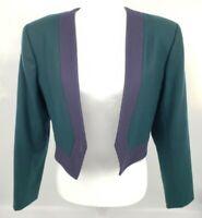 Vtg 80s Yves Saint Laurent Wool Bolero EU36 US 6 Green & Blue Rive Gauche Blazer