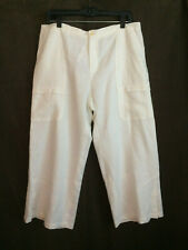 Philippe Adec 100% Linen White Cropped Pants Size 10 NWT