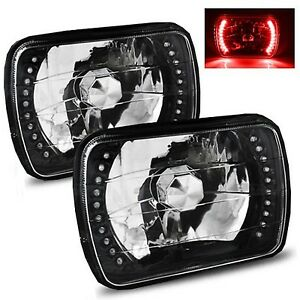 1982-1990 GMC S15 7x6 H6052/H6054 Semi-Sealed Beam Black Diamond Red LED Head...