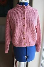 New Hand Knit Pink waist length cardigan size 14 - 16 crew neck button front