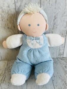 "Vintage Eden Boy Plush Doll Blue Yarn Hair Terry Cloth Striped Hat Pastel 10"""