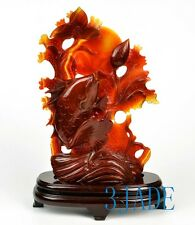 Carnelian / Red Agate Lotus Koi Fish Statue Sculpture Chinese Carving Art Dec