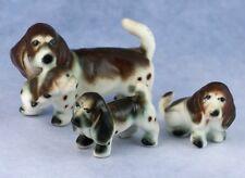 Vintage Miniature Set of 3(4) Bone China Basset Hound Family Dog Figurines Japan