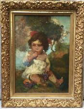 Antique Listed Ettore CASER Oil on Wood Painting Little GIRL Child PORTRAIT
