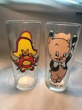 Porky Pig & Yosemite Sam 1973 Warner Bros Loony Tunes Cartoon Glasses Pepsi J67