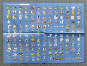 """Pokemon Gameboy Poster Checklist Pikachu Electronic Gaming Monthly 1999 20x15"""""""