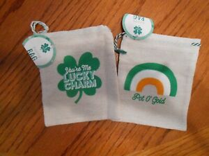 St. Patrick's Irish Party Canvas Loot Bags with Drawstring - Set of Two NEW