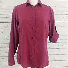Rei Womens Shirt M Vented Trail Hiking Nylon UPF30 Outdoor L/S Button Up Plum