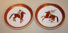Pair M Munoz Carrillo Handpainted Man & Woman on Horse Porcelain Ashtrays Dishes