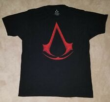 Assassin's Creed Men's Black Tee Shirt Red Logo Size Large Fading