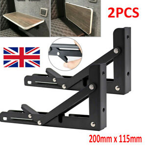 2X Campervan Folding SHELF & Bracket Caravan Motorhome Furniture Table Extension