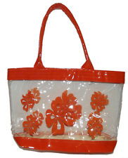#2 New Clear Orange Transparent See-thru Handbag Floral Tote Purse pvc Plastic