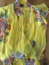 TRAFFIC PEOPLE size S yellow chiffon top with oriental design new without tags