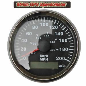 85mm Digital GPS Speedometer Odometer Gauge 0-300KM/H 200MPH For Car Motorcycle