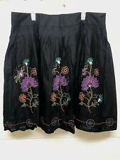 Venezia Black Beaded Embroidered Lined Side Zip Drop Waist Skirt Size 20