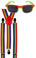 Rainbow Gay Pride Suspenders Carnival Festival Fancy Dress Costume + Sunglasses