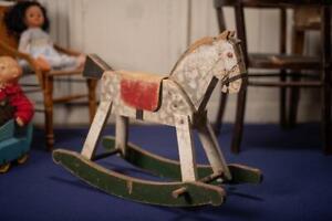 Antique rock horse Vintage Wooden Rocking Horse Toy For Kids, Old Children Woode