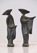 Art Deco/Mid Century Bronze Japanese Geisha Figurine Statues Modernist Sculpture