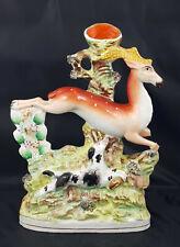 More details for staffordshire figurine stag & hound spill vase - broken