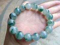 12mm 100% Natural Green Jade Jadeite Round Gemstone Beads Bracelet AAA