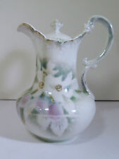 WEIMER/GERMANY PORCELAIN PITCHER OR TEA / COFFEE POT - GHOST FLORAL DECORATION
