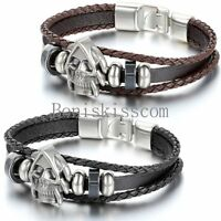 Vintage Death Skull Multi-layer Surfer Leather Men Women Bracelet Cuff Wristband