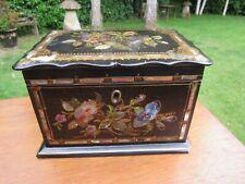 More details for victorian papier mache tea caddy two lids inside no key ex with 1 base chip