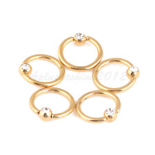 "5pc 14G 3/8"" Gold Color Surgical Steel BCR Closure Ring With 4mm Crystal GEM"