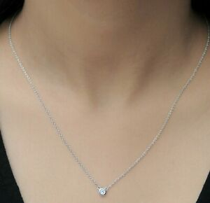 3mm White Round Sim Diamond Solid 925 Sterling Silver Link Chain Necklace Womens