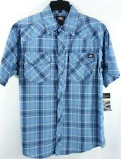Dickies Mens SS Shirt Small Western Chest Pockets Cotton Snap Button Down