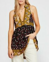 Free People Womens Charlotte OB938693 Tunic Relaxed Black Multicolour Size XS